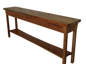 Custom Spalted Pecan sofa table with custom designed carved aprons and shaped shelf.
