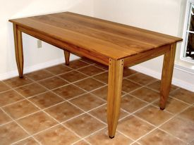 Custom Face Grain Shaker Style Dining Table With Hand Carved Aprons And  Walnut Accents On Legs ...