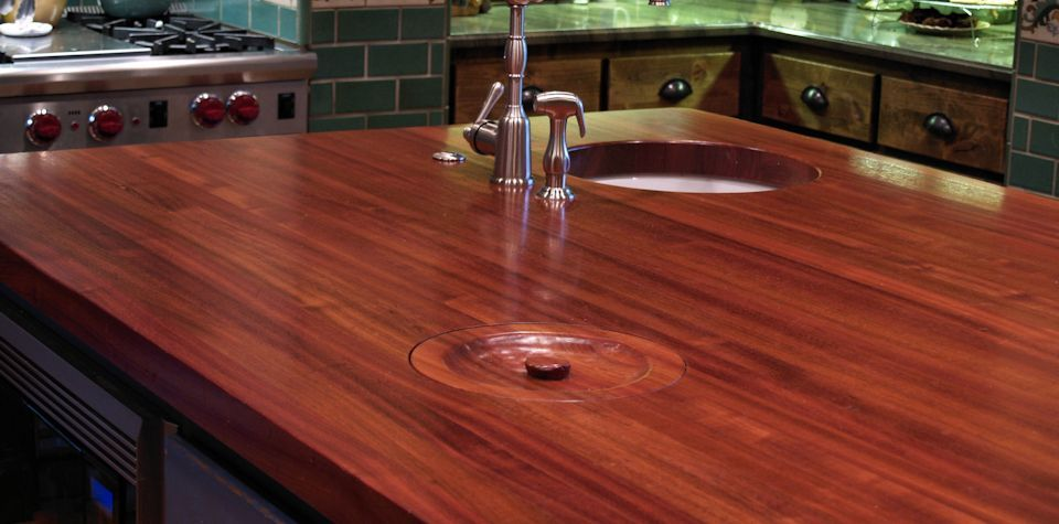 Waterlox Finish; Jatoba Wood Island Countertop With Hand Carved Trash Lid
