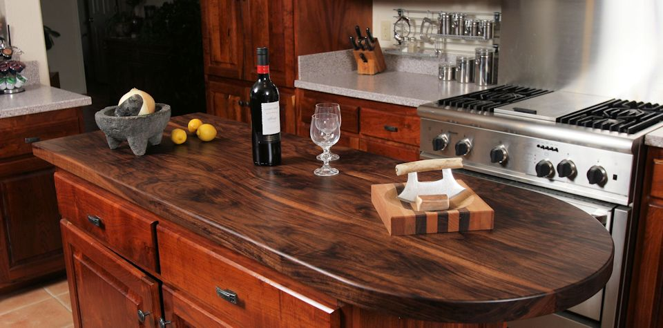 Custom Walnut Wood Island Countertop with Tung-Oil Finish