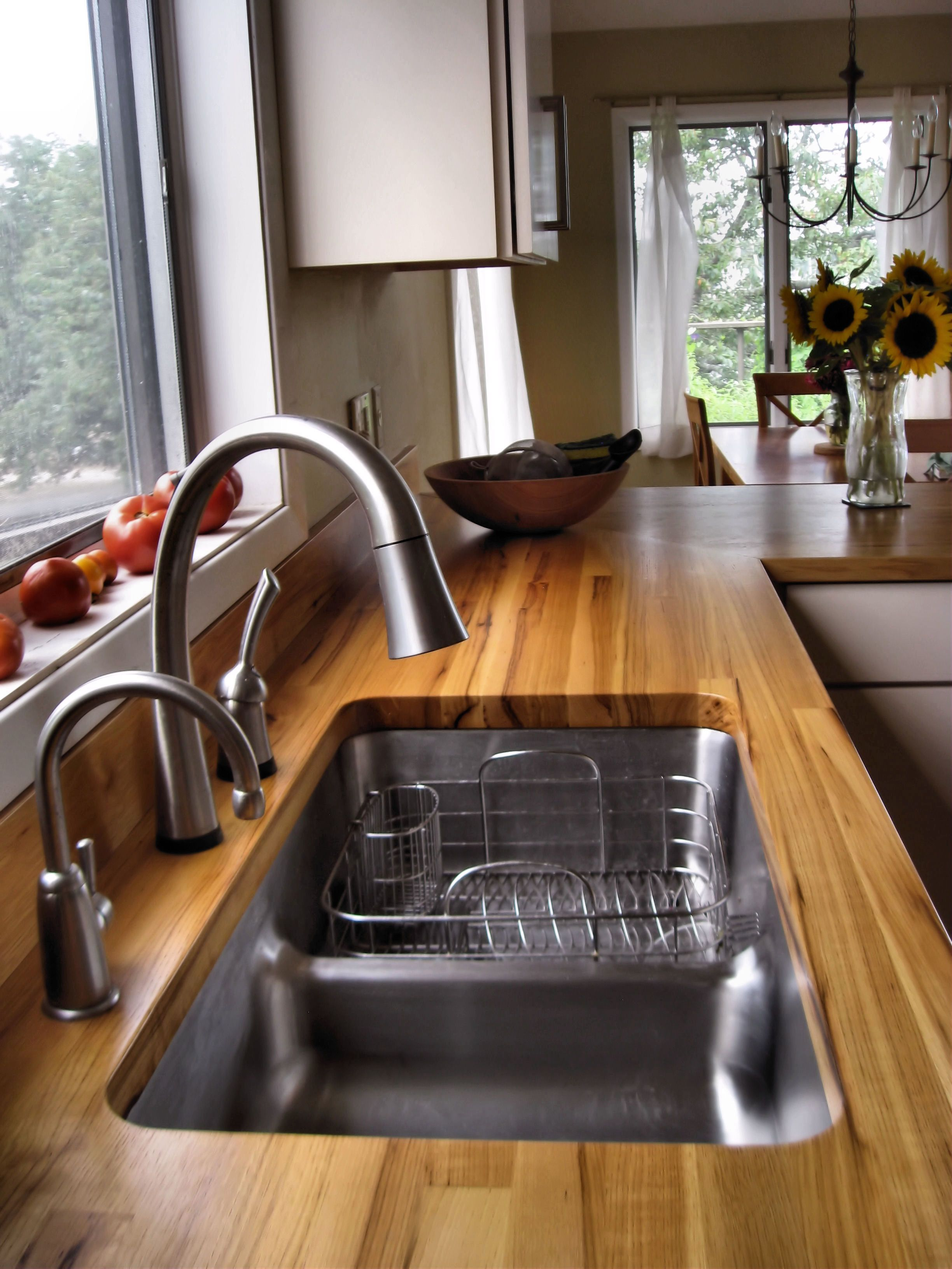 Edge Grain Pecan Countertop With Undermount Sink And Waterlox Finish
