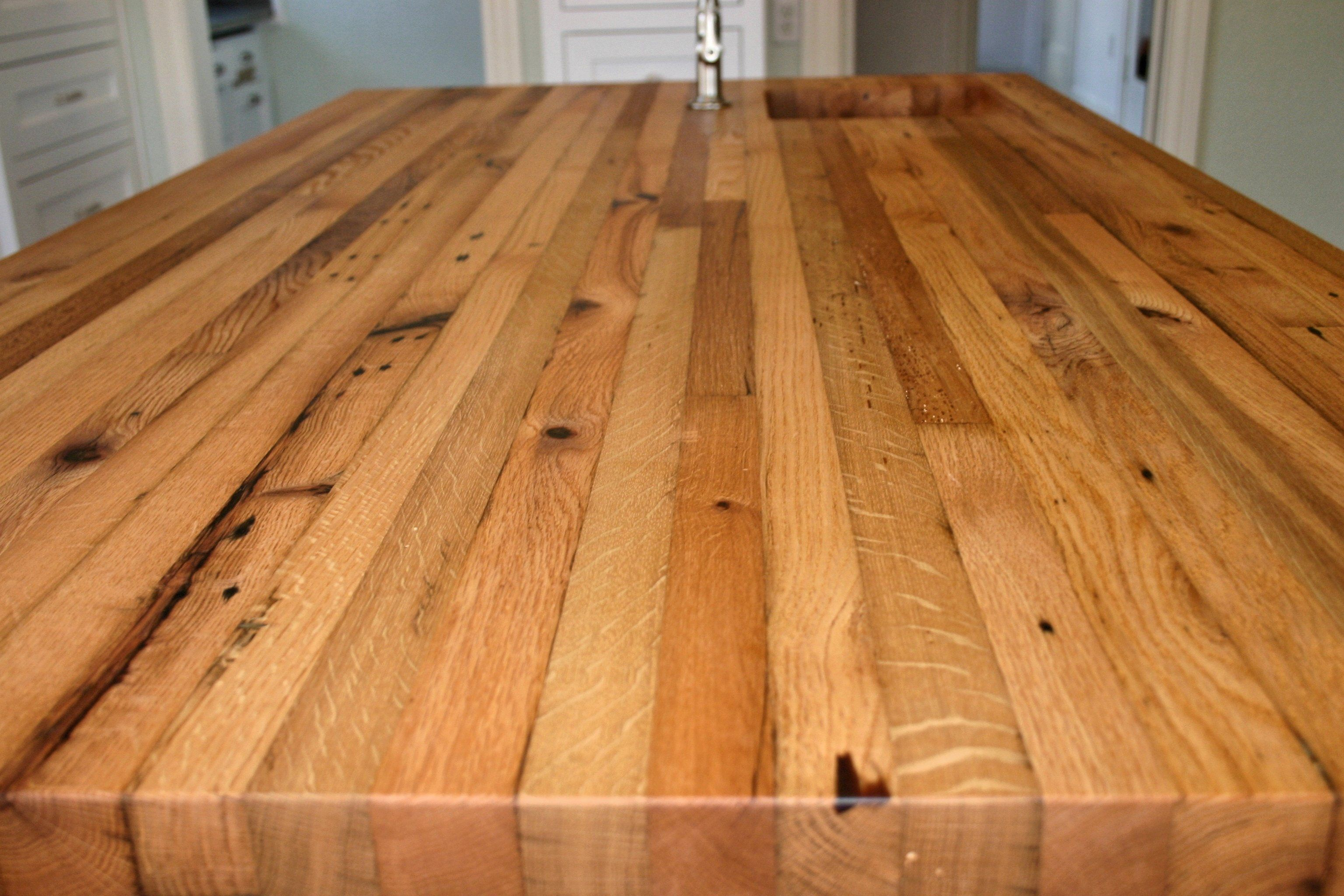 Reclaimed White Oak Face Grain Custom Wood Island Countertop