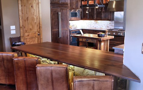 Slab Walnut Wood Island Countertop