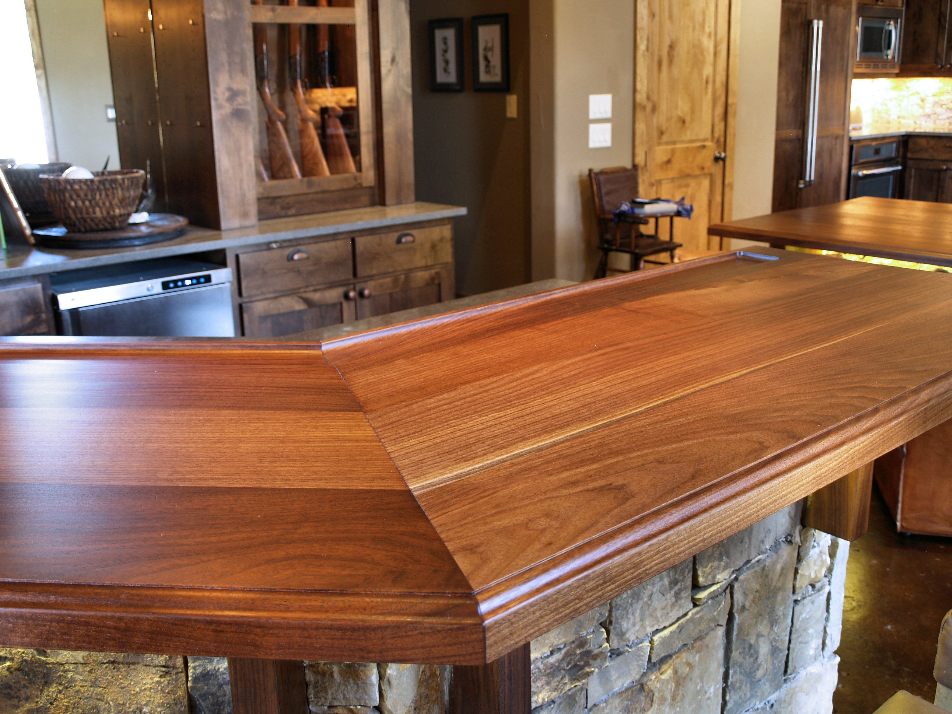 Mitre Joint On A Texas Walnut Wood Bar Top Face Grain Construction With Waterlox