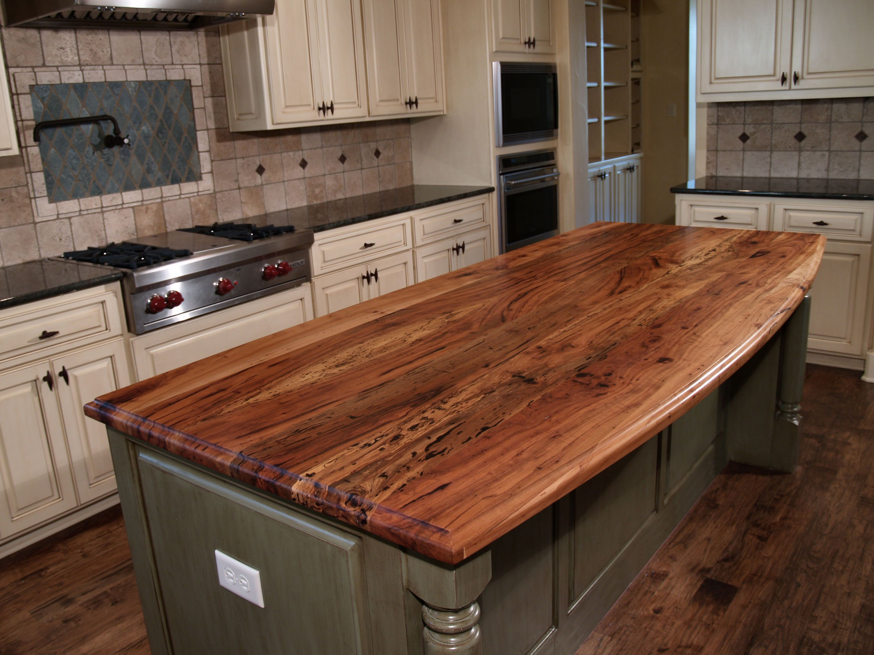 island counter kitchen spalted pecan wood countertop photo gallery by devos 1938