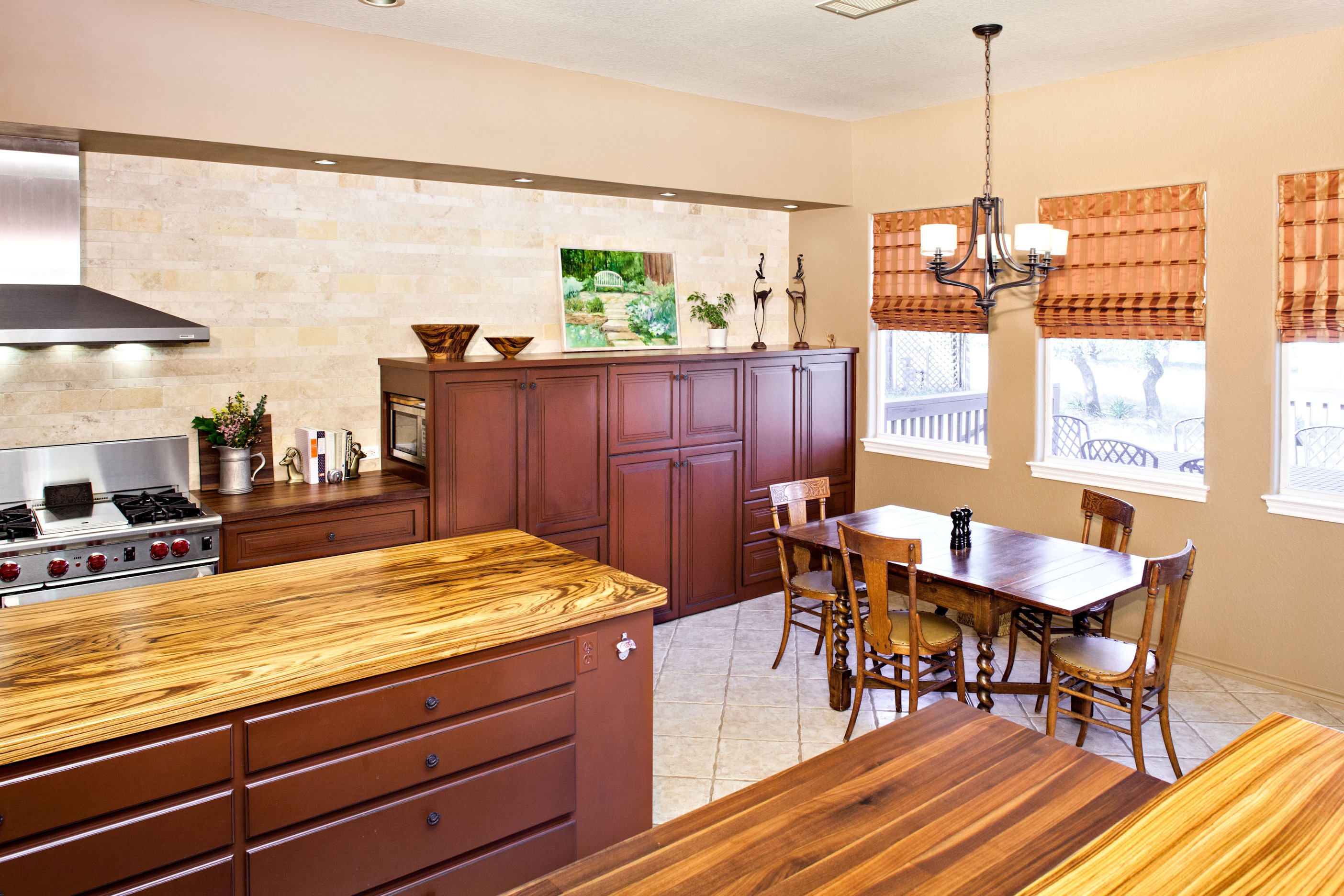 Zebrawood Face Grain Custom Wood Island Countertop
