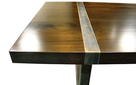 Custom Dining Table Using Book Matched Walnut Slabs With A Drop Edge For The Top