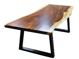 Custom Dining Table Using A Guanacaste Slab Top With Natural Edges And Waterlox Satin Finish