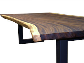 Custom Dining Table Using A Guanacaste Slab Top With Natural Edges And Tung Oil Citrus Finish